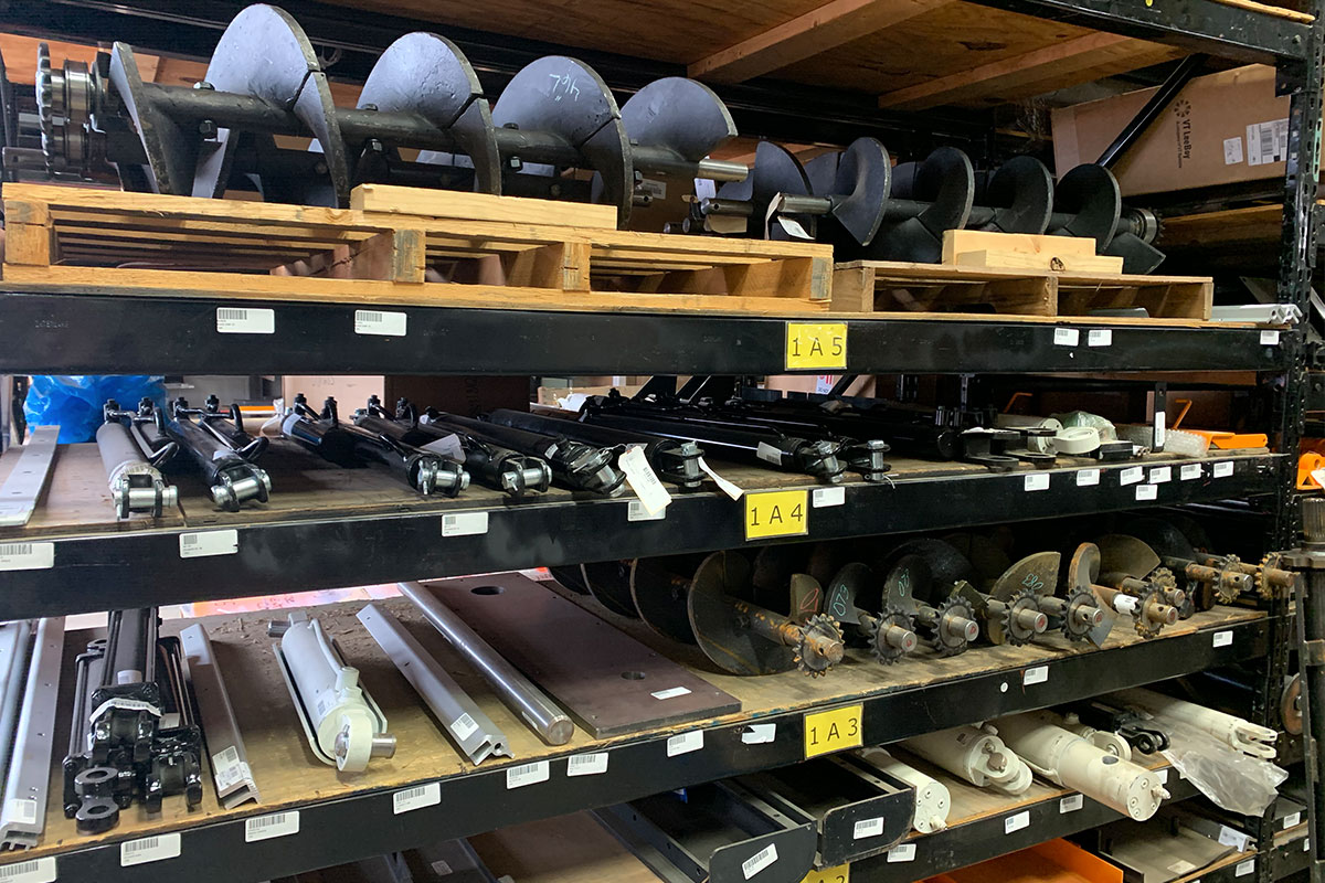 Parts on shelves